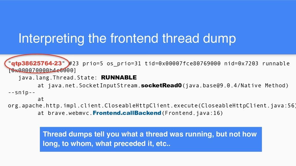 "Interpreting the frontend thread dump ""qtp38625..."
