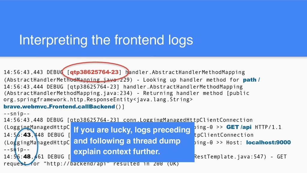 Interpreting the frontend logs 14:56:43,443 DEB...