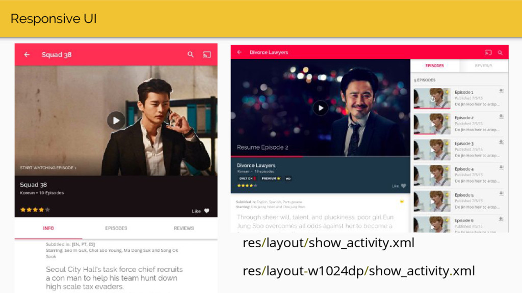 Responsive UI res/layout/show_activity.xml res/...