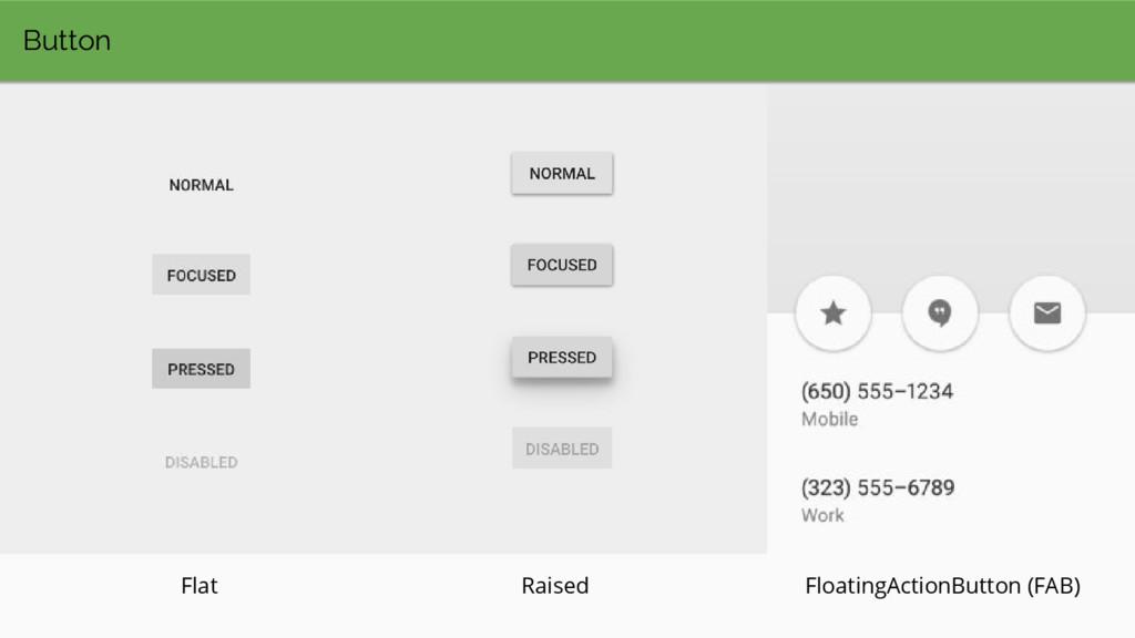 Button Flat Raised FloatingActionButton (FAB)