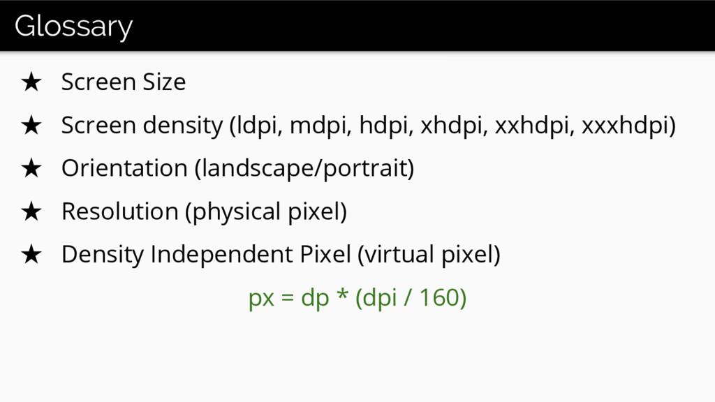 Glossary ★ Screen Size ★ Screen density (ldpi, ...