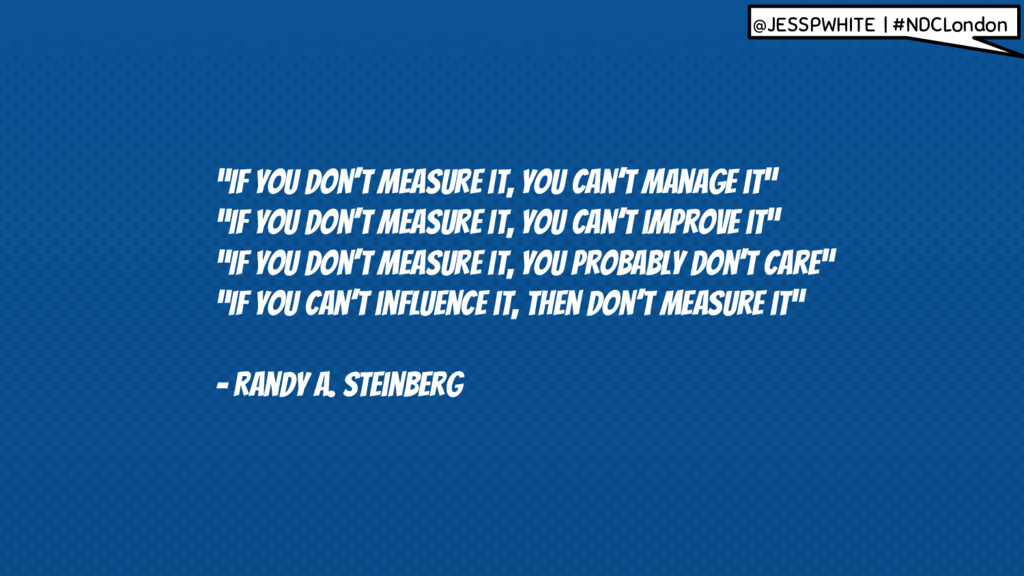 """""""If you don't measure it, you can't manage it"""" ..."""