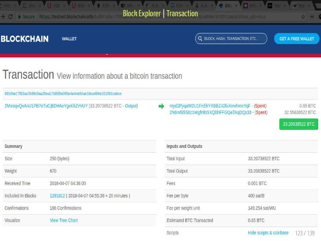 Block Explorer   Transaction 123 / 139