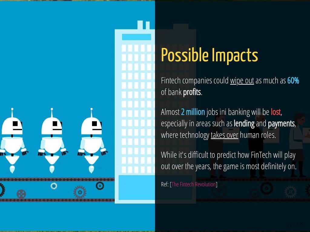 22 / 139 Possible Impacts Fintech companies cou...
