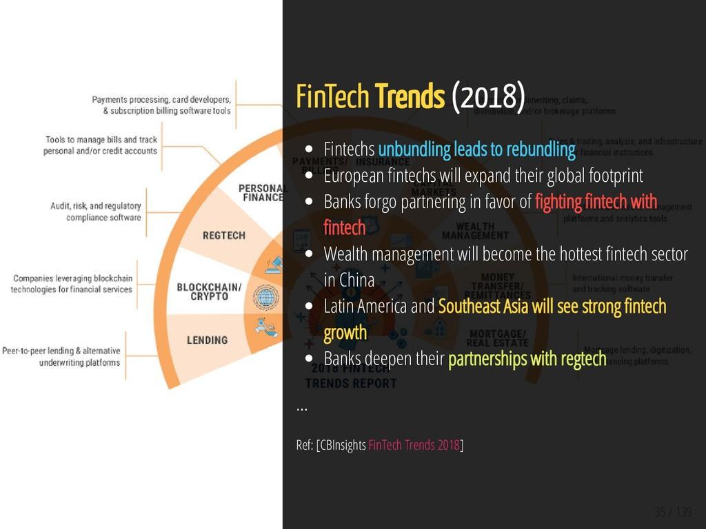 35 / 139 FinTech Trends (2018) Fintechs unbundl...