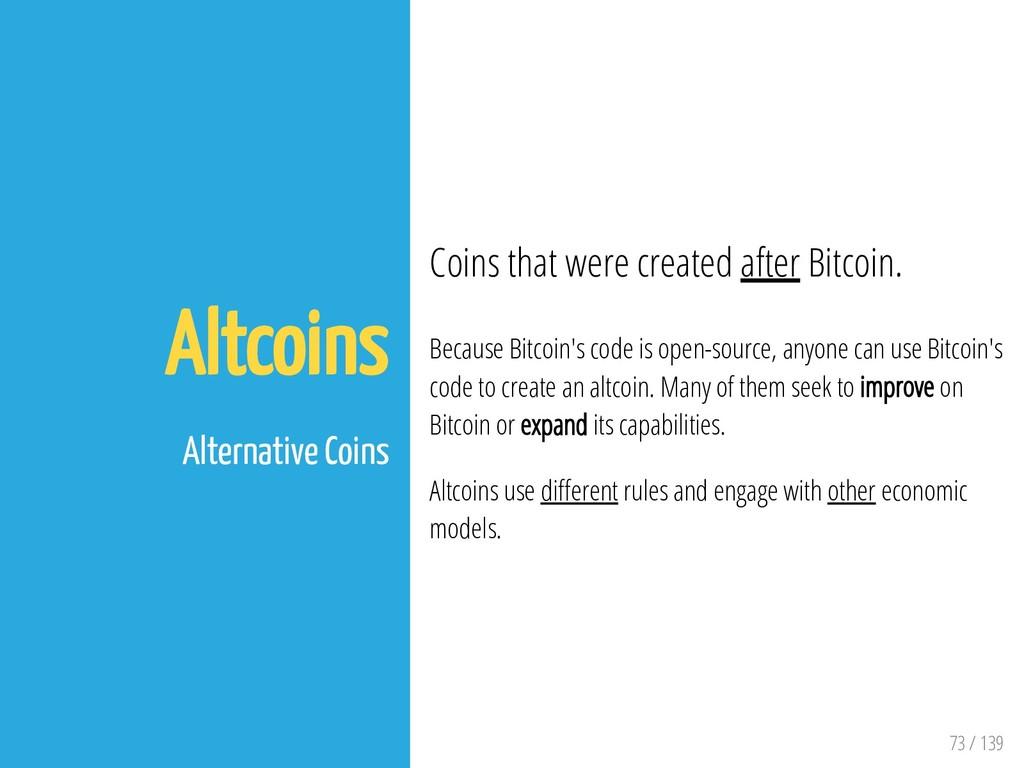 73 / 139 Altcoins Alternative Coins Coins that ...
