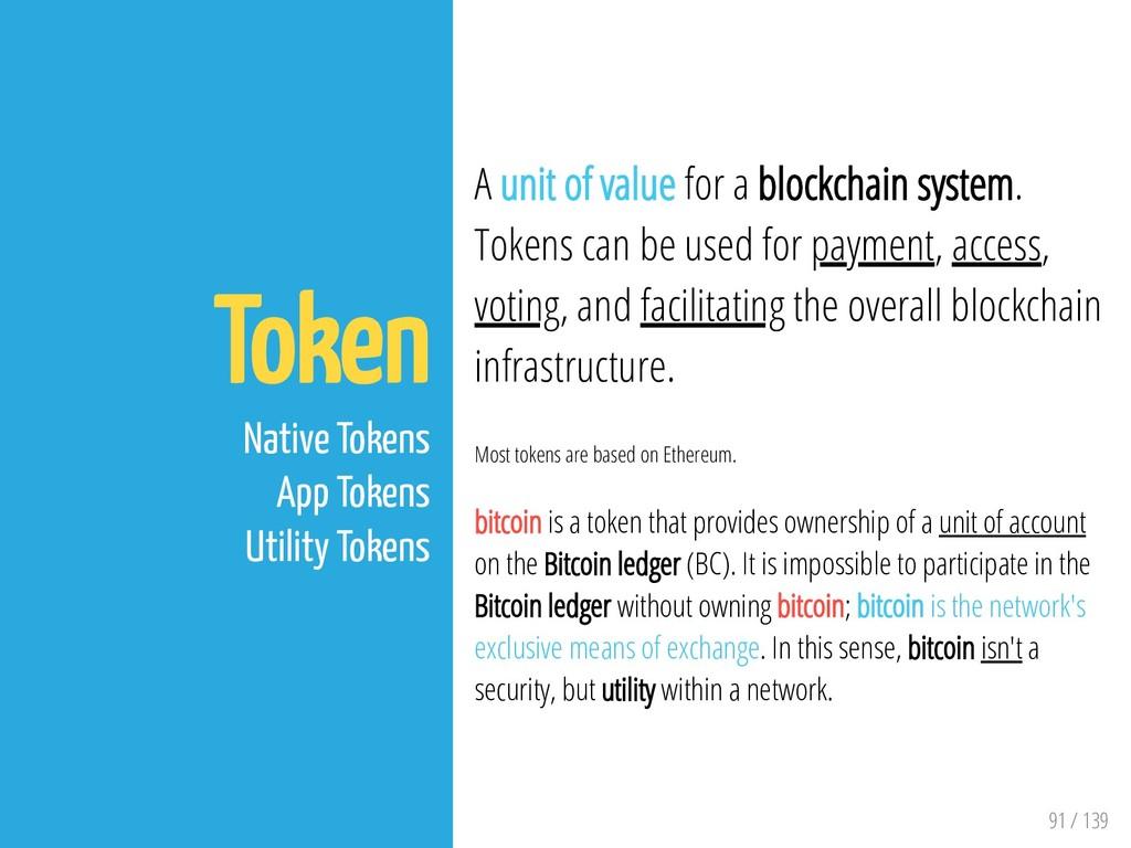 91 / 139 Token Native Tokens App Tokens Utility...