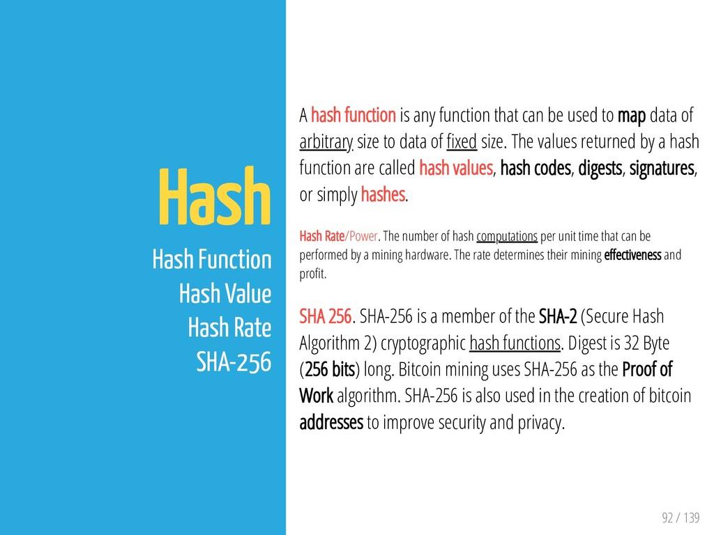 92 / 139 Hash Hash Function Hash Value Hash Rat...