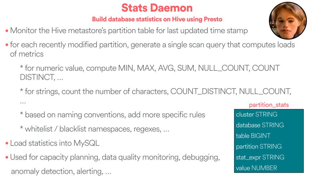 Stats Daemon Build database statistics on Hive ...