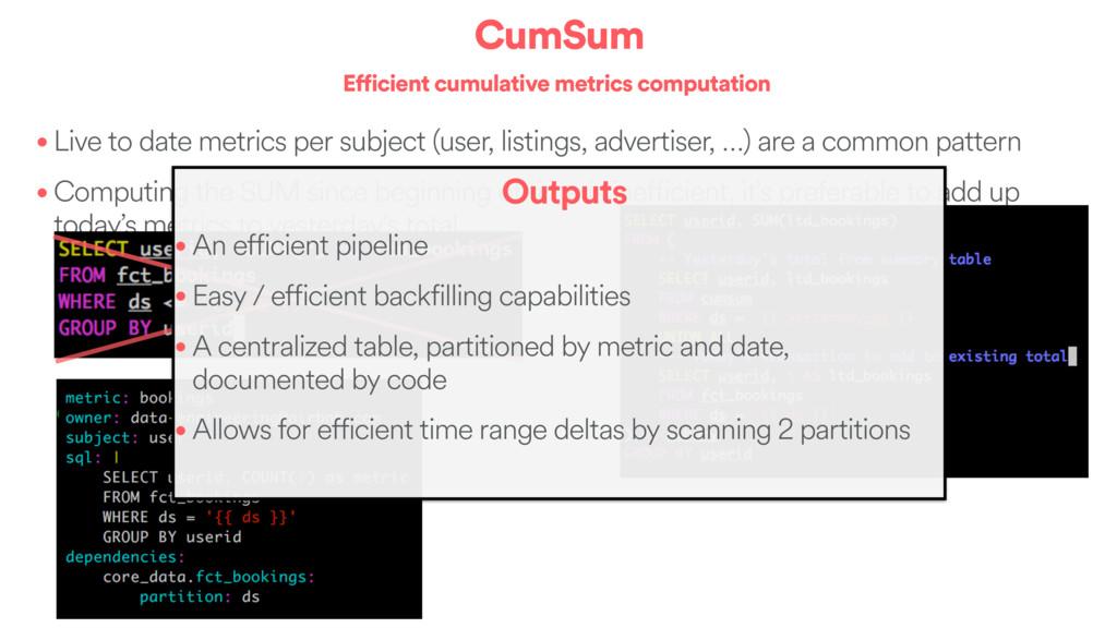 CumSum Efficient cumulative metrics computation...