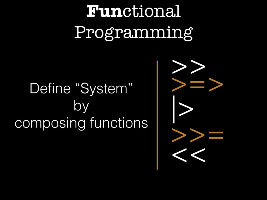 "Functional Programming >> >=> >>= << |> Define ""..."