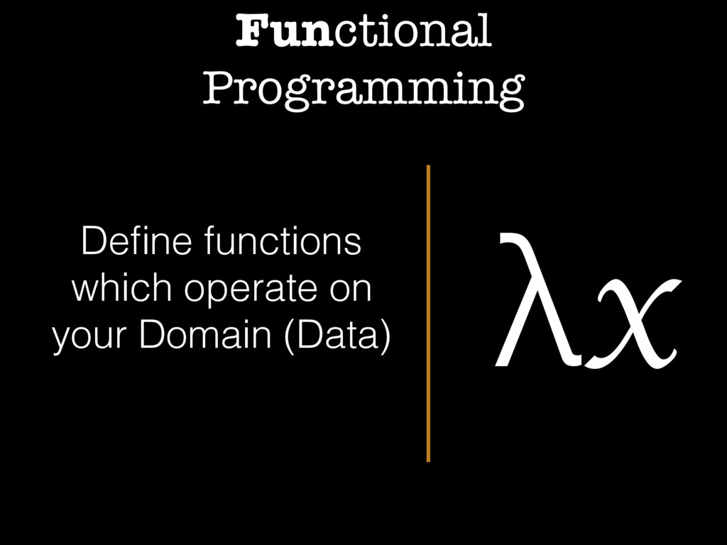 Functional Programming λx Define functions which...