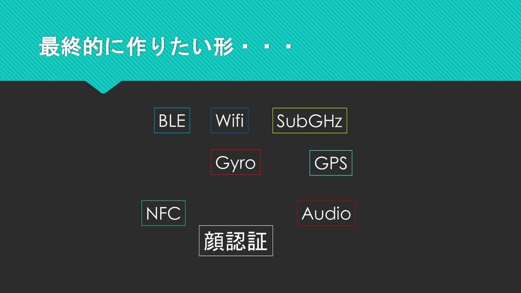 最終的に作りたい形・・・ BLE Wifi SubGHz Gyro NFC Audio 顔認証...
