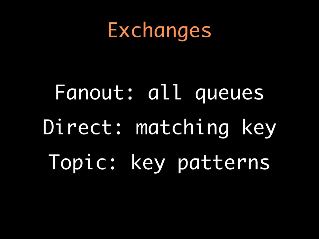 Exchanges Fanout: all queues