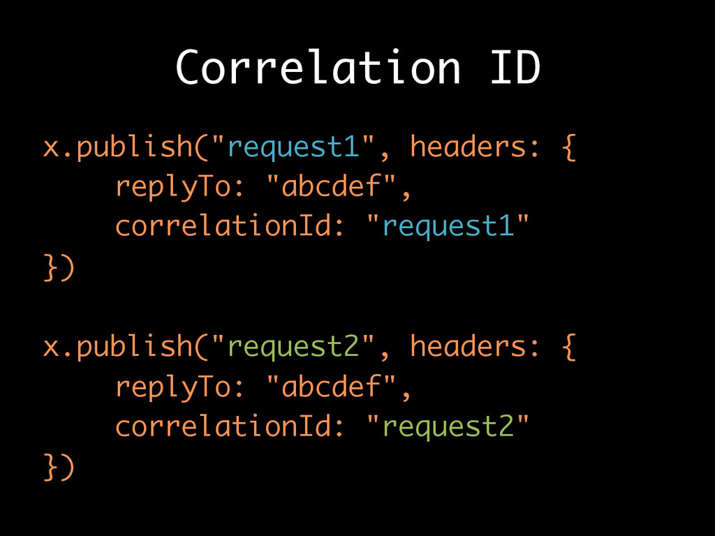 "Correlation ID x.publish(""request1"", headers: {..."