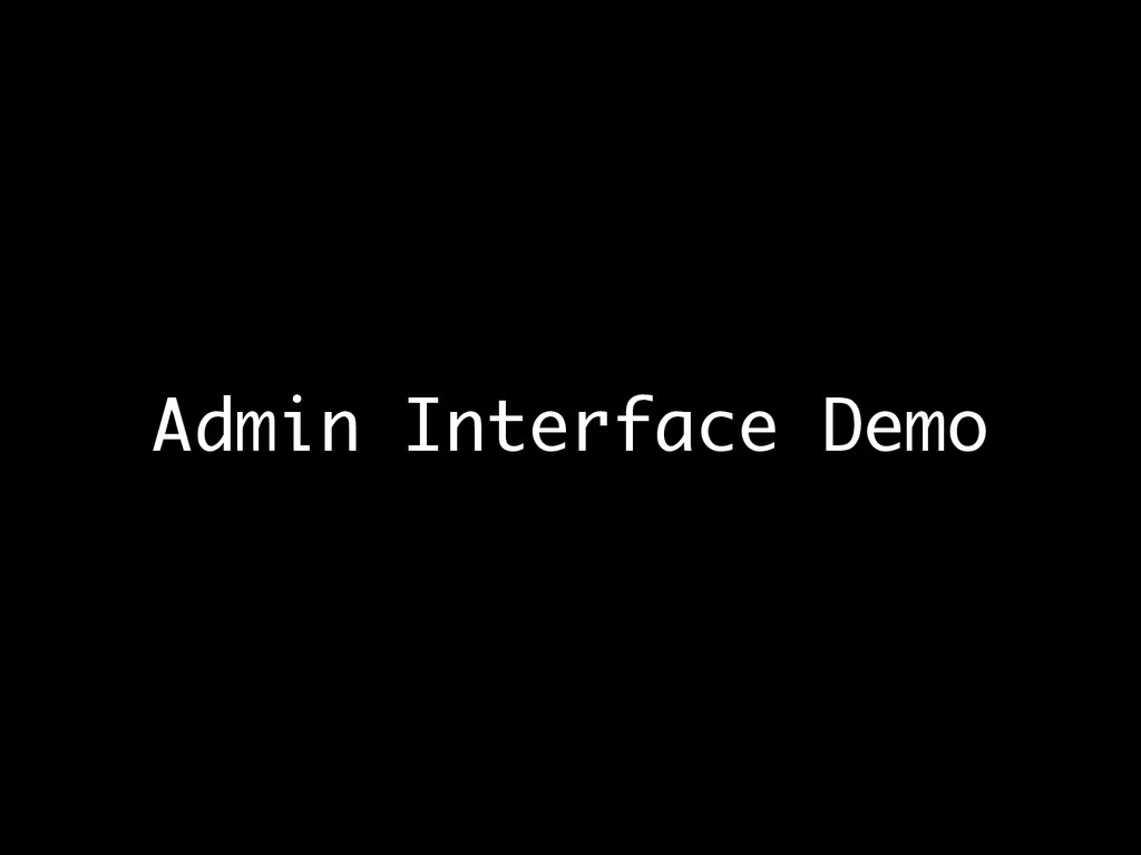 Admin Interface Demo
