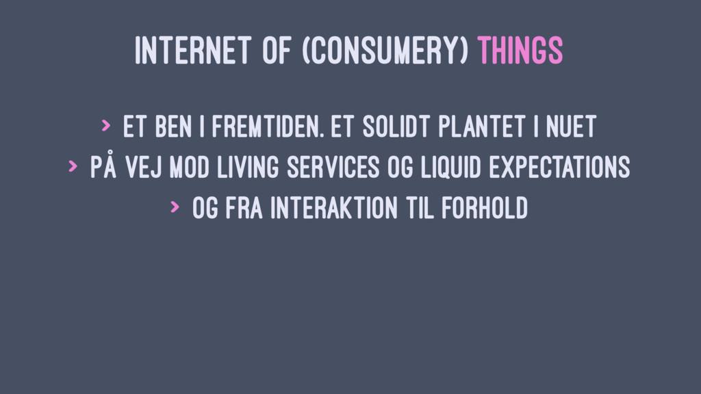 INTERNET OF (CONSUMERY) THINGS > Et ben i fremt...