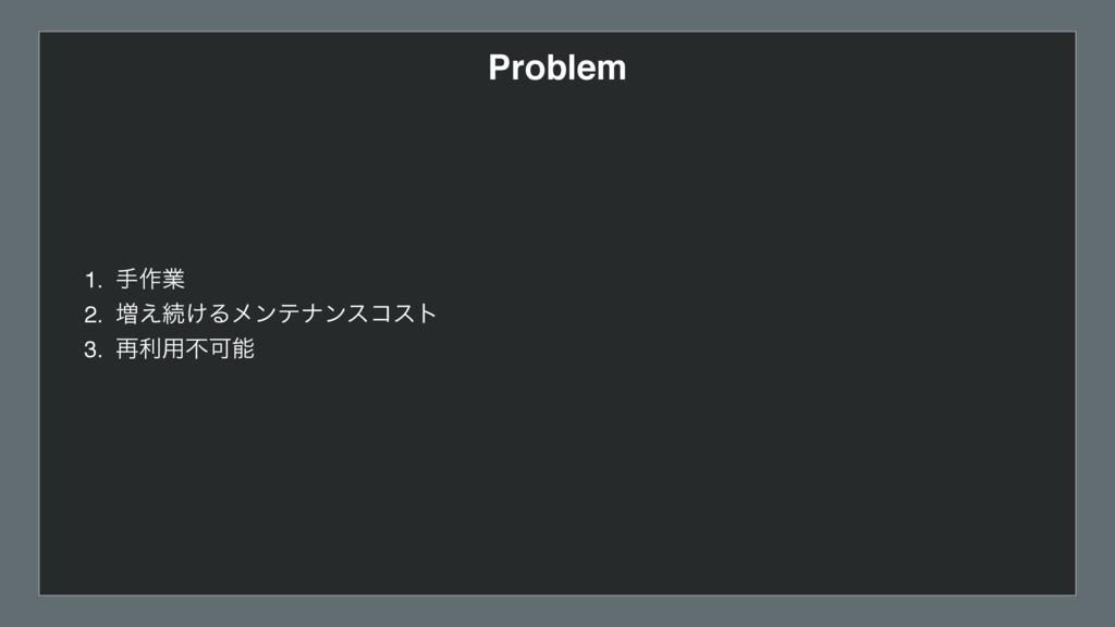 Problem 1. ख࡞ۀ 2. ૿͑ଓ͚Δϝϯςφϯείετ 3. ࠶ར༻ෆՄ