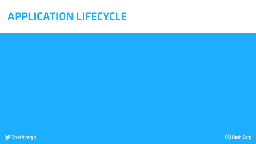 @sethvargo  APPLICATION LIFECYCLE