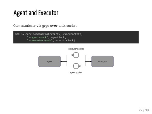 Agent and Executor Communicate via grpc over un...