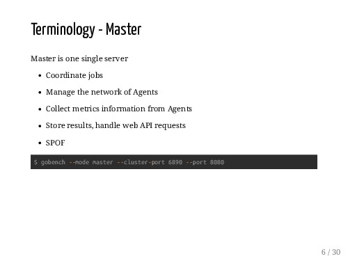 Terminology - Master Master is one single serve...