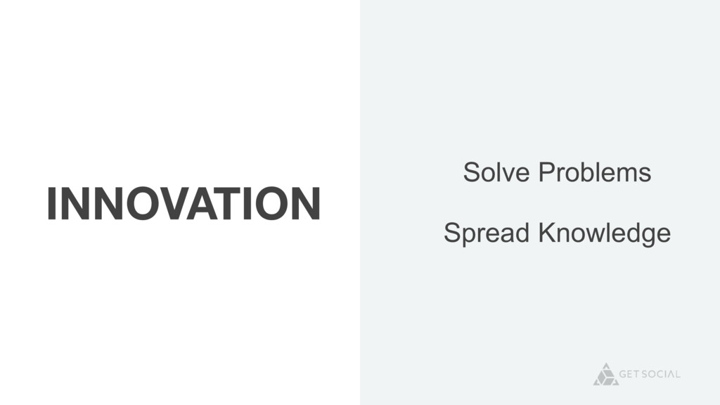 INNOVATION Solve Problems Spread Knowledge