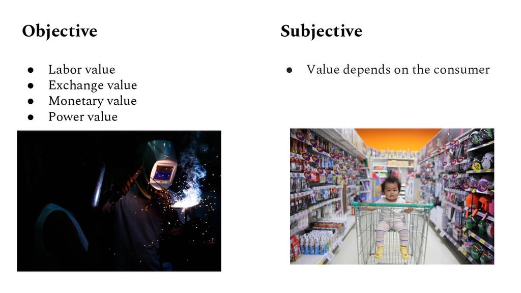 Objective ● Labor value ● Exchange value ● Mone...