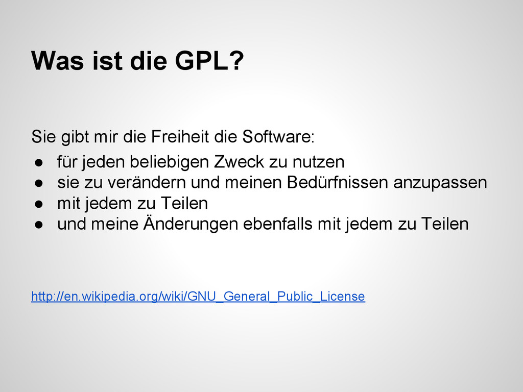 Sie gibt mir die Freiheit die Software: ● für j...
