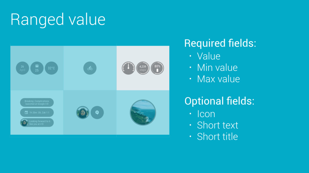 Ranged value Required fields: Optional fields: • ...