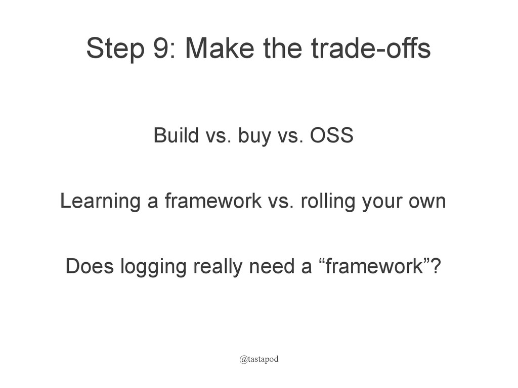 @tastapod Step 9: Make the trade-offs Build vs....