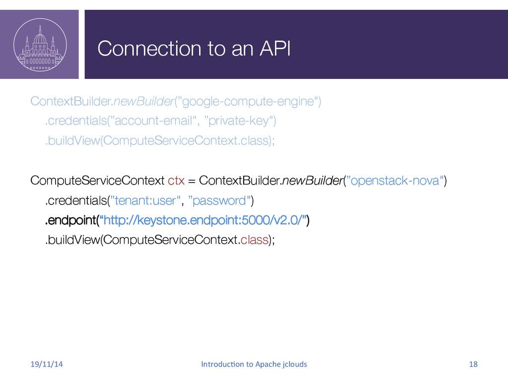 Connection to an API ContextBuilder.newBuilder...