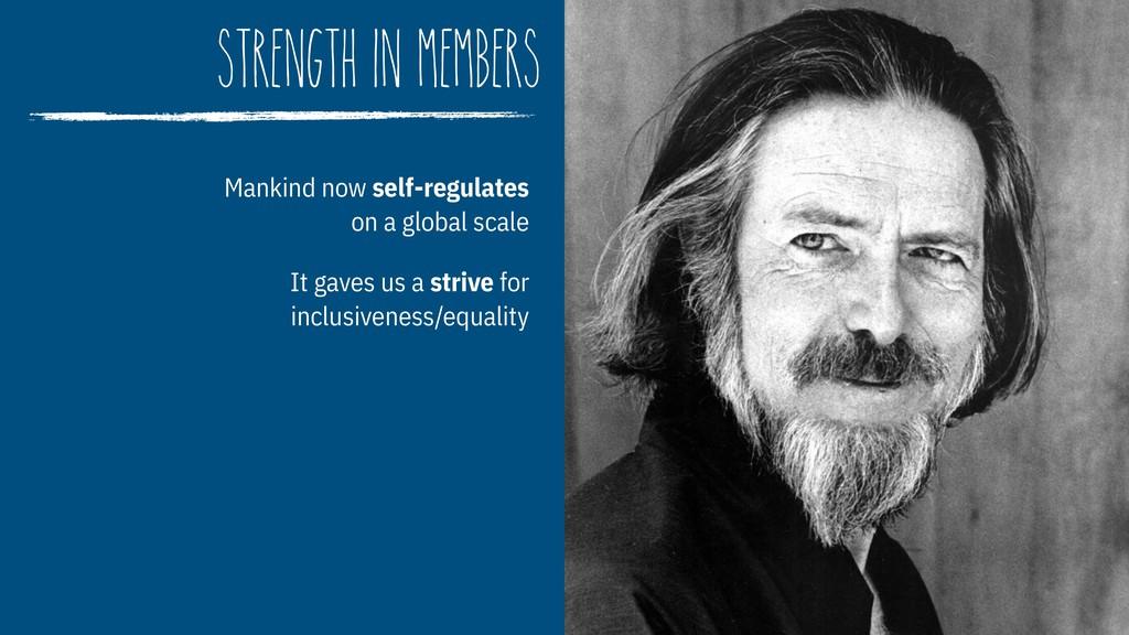 strength in members Mankind now self-regulates...