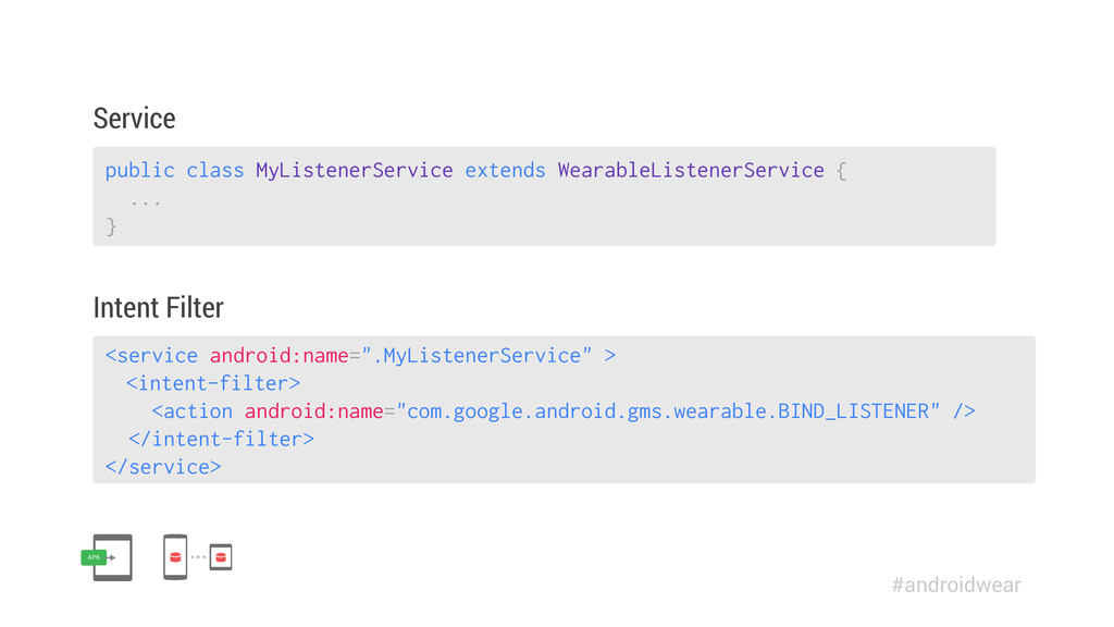 """<service android:name="""".MyListenerService"""" > <i..."""