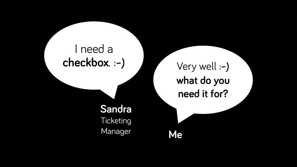 I need a checkbox. :-) Sandra Ticketing Manager...