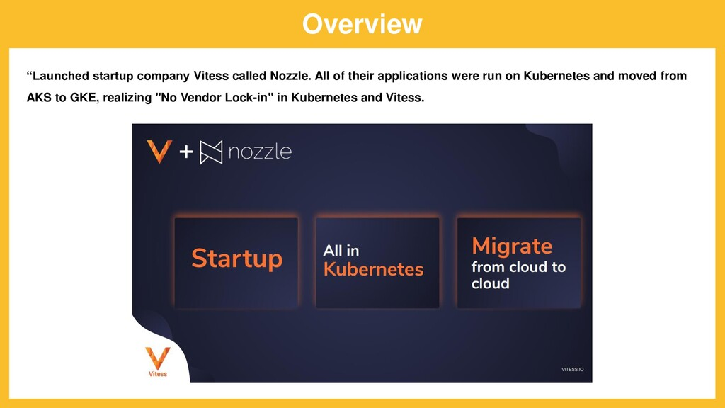 """Overview """"Launched startup company Vitess calle..."""