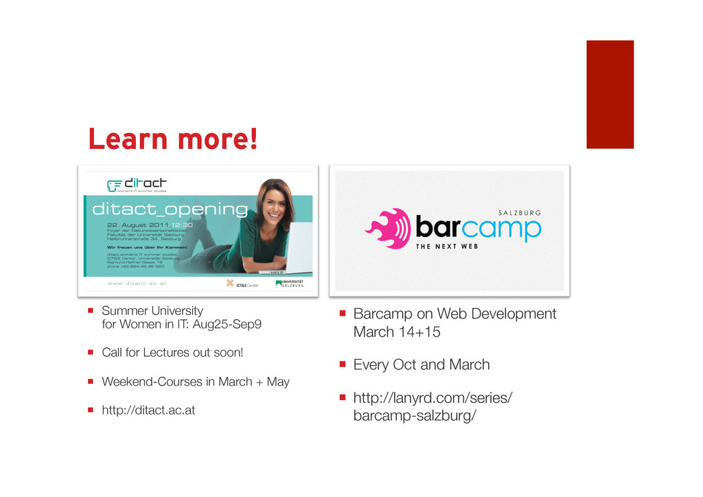 Learn more! Come to Salzburg  Barcamp on Web D...
