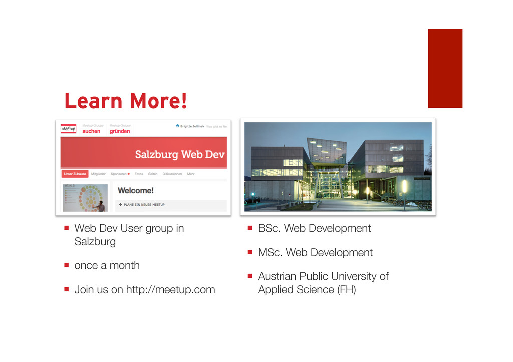 Learn More! Come to Salzburg  BSc. Web Develop...