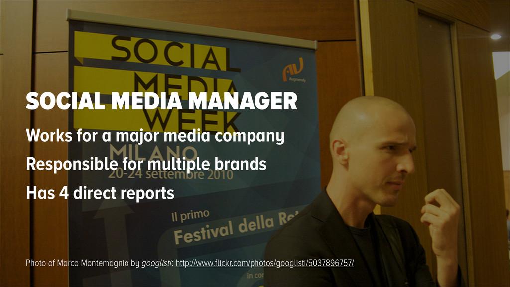 SOCIAL MEDIA MANAGER Works for a major media co...
