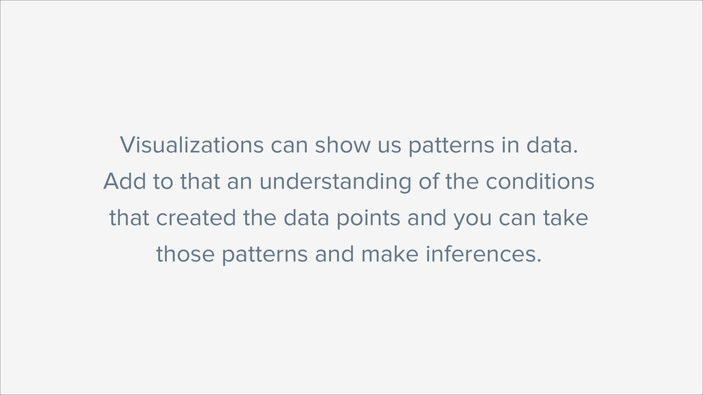 Visualizations can show us patterns in data. Ad...