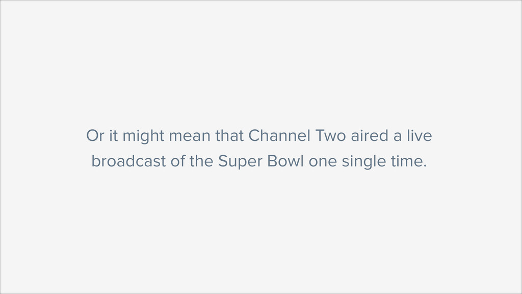 Or it might mean that Channel Two aired a live ...