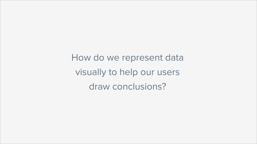 How do we represent data visually to help our u...