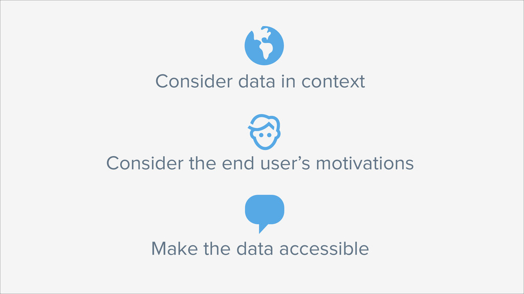 Consider data in context  Consider the end use...