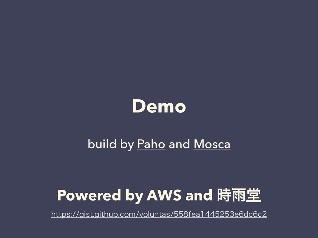 Demo ! build by Paho and Mosca Powered by AWS a...