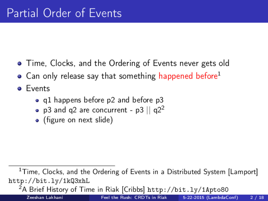 Partial Order of Events Time, Clocks, and the O...