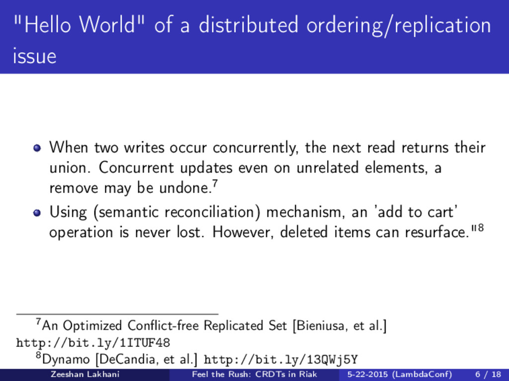 """""""Hello World"""" of a distributed ordering/replica..."""