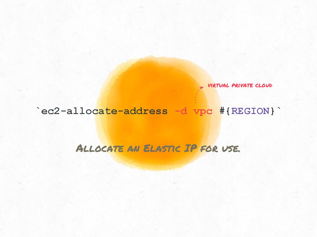 `ec2-allocate-address -d vpc #{REGION}` Allocat...