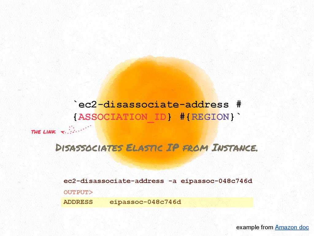 `ec2-disassociate-address # {ASSOCIATION_ID} #{...