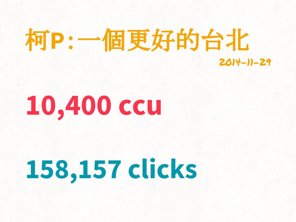 柯P:一個更好的台北 2014-11-29 158,157 clicks 10,400 ccu