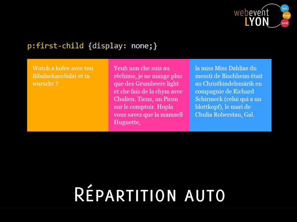 Répartition auto