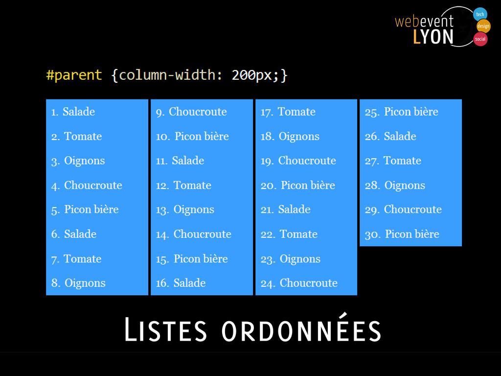 Listes ordonnées